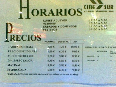Precio comparado en Cines Málaga Nostrum, formato digital y analógico