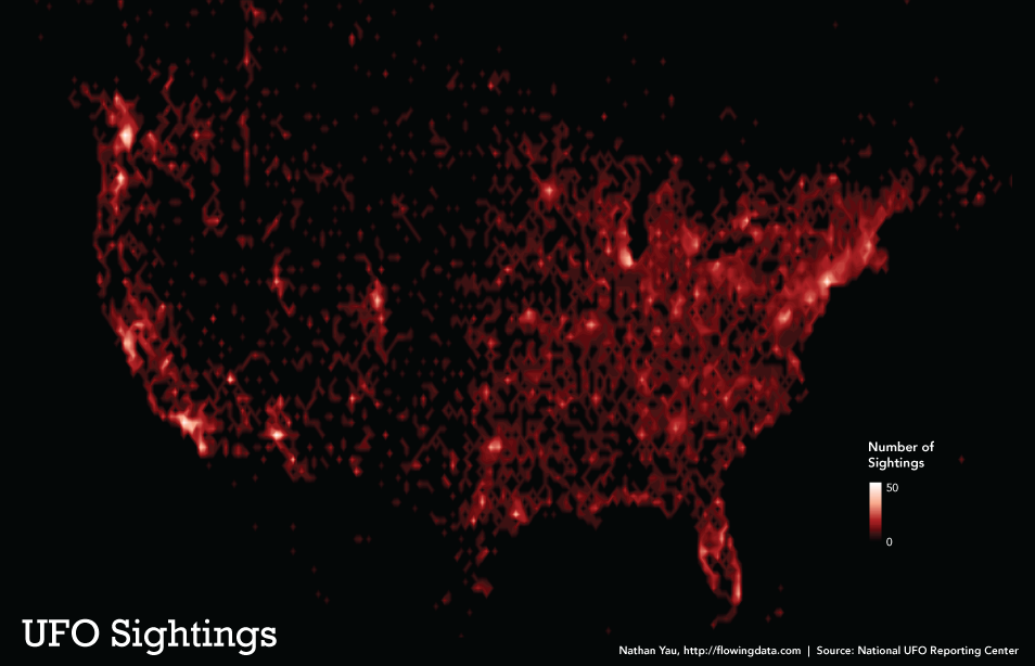 Mapa de avistamiento de OVNIs en Estados Unidos