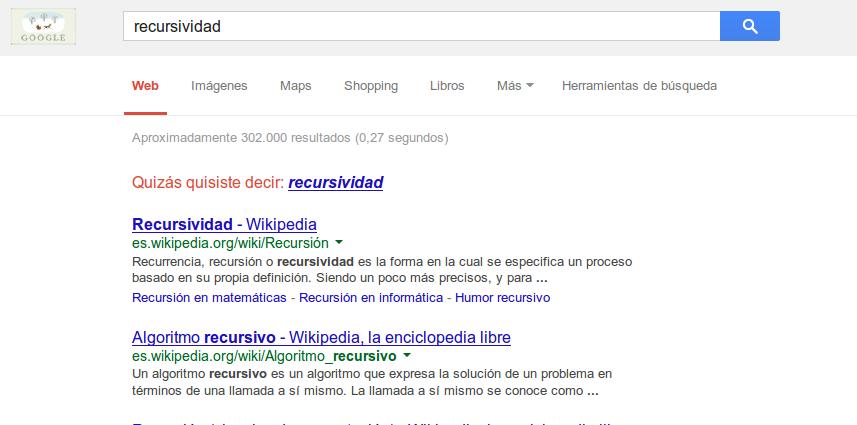 Recursividad, en Google